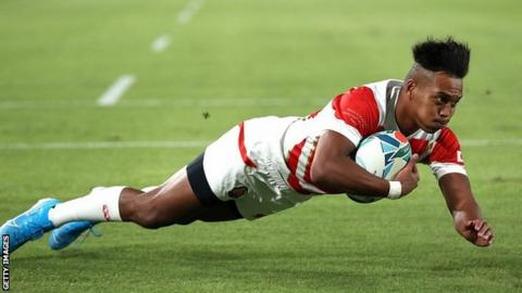 Japan's Matsushima dives over for his side's first try