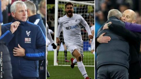 (Left to right) Palace manager Alan Pardew, Swansea striker Fernando Llorente and Swansea manager Bob Bradley