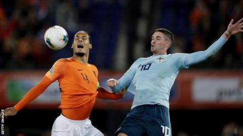 Virgil van Dijk and Kyle Lafferty contend for possession during the first half