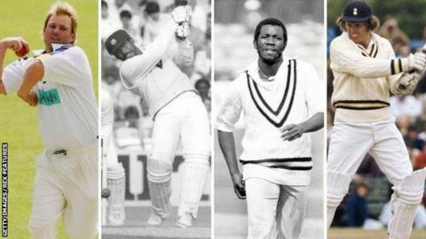 Shane Warne, Gordon Greenidge, Malcolm Marshall and Barry Richards (left to right)