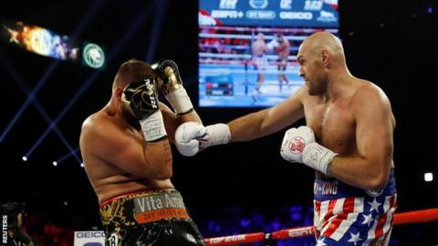 Tyson Fury in action against Tom Schwarz in June