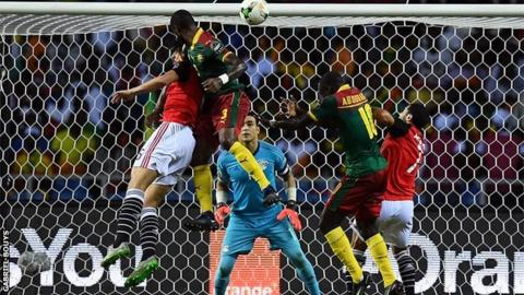 Nicolas Nkoulou scores with a header in the 2017 Nations Cup final against Egypt