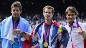Roger Federer won silver at London 2012, with Andy Murray taking gold and Juan Martin del Potro earning bronze