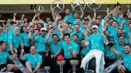 Mercedes celebrate a sixth world championship