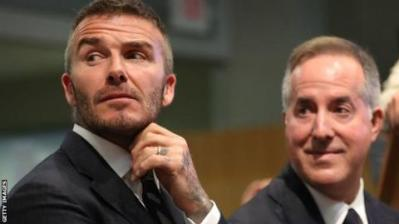 David Beckham (left) co-owns Inter Miami with three other parties including Jorge Mas (right)
