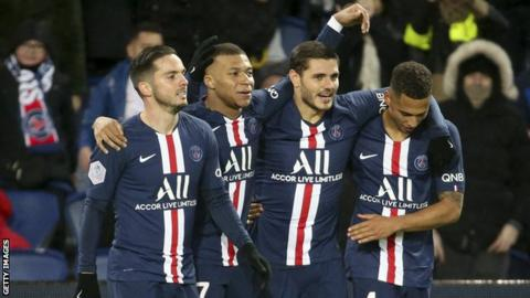 PSG players celebrate a goal against Dijon in Ligue 1