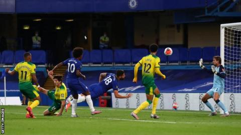 Chelsea's Olivier Giroud scores in the first half