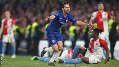 Chelsea's Pedro celebrates against Slavia Prague