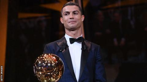 Image result for Ballon d'Or 2017: Cristiano Ronaldo beats Lionel Messi to win fifth award