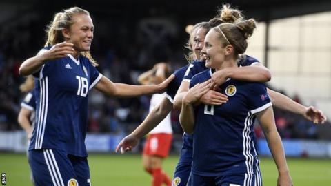 Kim Little celebrates a goal with Scotland team-mates