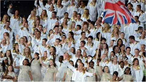 Team GB enter the opening ceremony