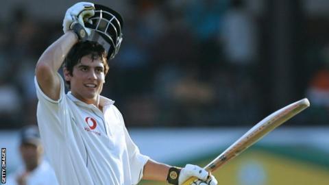Alastair Cook celebrates his maiden Test century in 2006