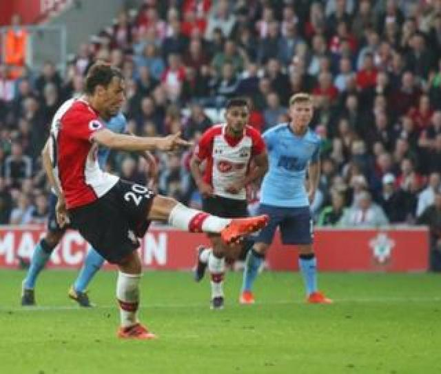 Manolo Gabbiadini Scores Southamptons Equaliser From The Penalty Spot Against Newcastle