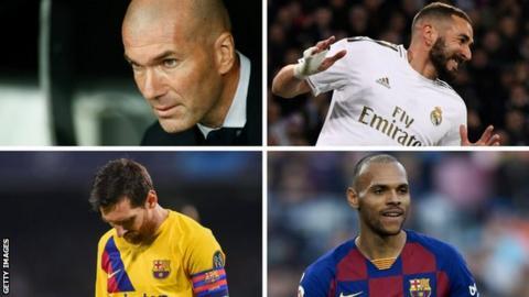 Zinedine Zidane, Karim Benzema, Lionel Messi, Martin Braithwaite