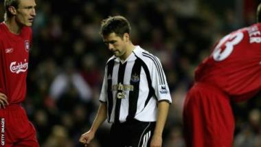Michael Owen looks dejected while playing for Newcastle against former club Liverpool in December 2005