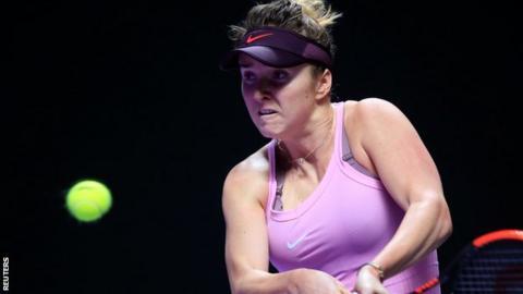 Elina Svitolina celebrates beating Sofia Kenin