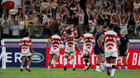 Japan celebrate try against Scotland