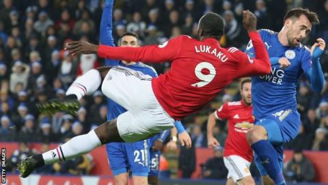 Romelu Lukaku attempts an overhead kick playing for Manchester United against Leicester City