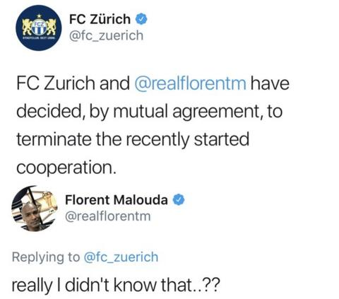 Florent Malouda responds to FC Zurich's tweet stating he's been released.