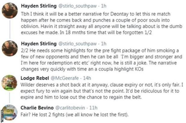 "Fans on Twitter discuss what is next for Deontay Wilder. With one fan saying he needs to come back ""bigger and stronger"" and take a couple of other fights before facing Tyson Fury again"