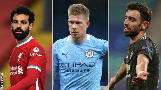Liverpool's Mohamed Salah, Manchester City's Kevin de Bruyne, Manchester United's Bruno Fernandes