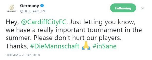 Germany's Twitter account used the pray emoji after Sane's injury