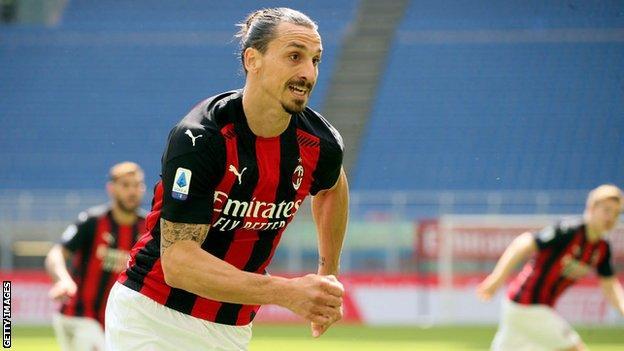 AC Milan striker Zlatan Ibrahimovic runs during a Serie A game