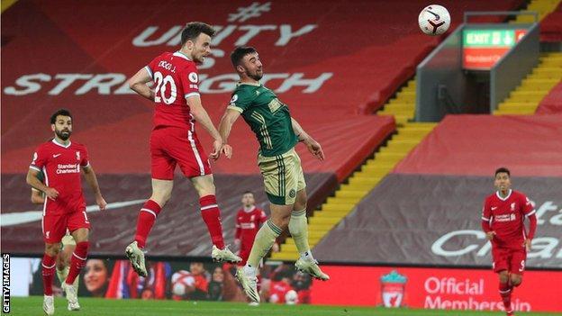 Diogo Jota heads Liverpool ahead against Sheffield United