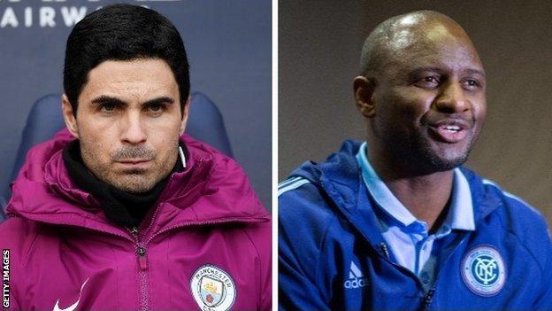 Former Arsenal midfielders Mikel Arteta and Patrick Vieira