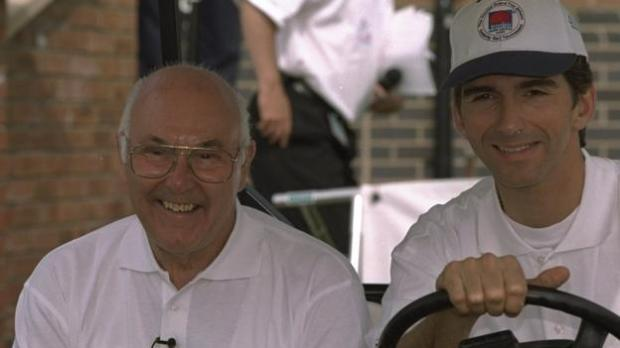 Murray Walker with Damon Hill