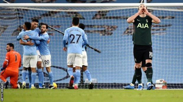 Tottenham forward Harry Kane reacts after Rodri gives Manchester City the lead from the penalty spot