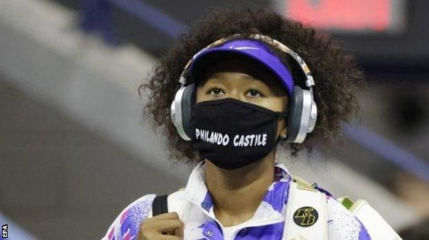 Naomi Osaka wears a mask with the name of Philando Castile