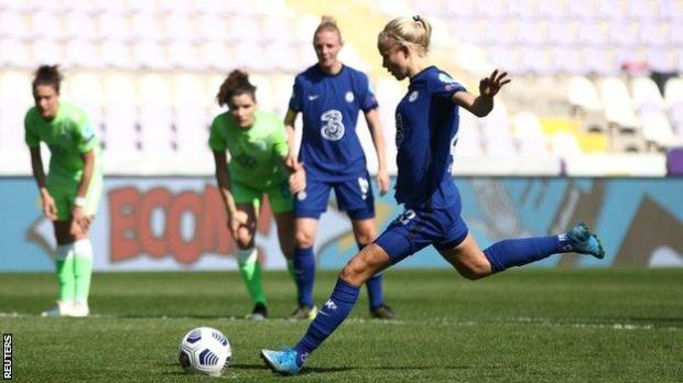 Pernille Harder puts Chelsea 1-0 up in the second leg with a penalty against Wolfsburg