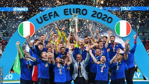 Italy celebrate the win