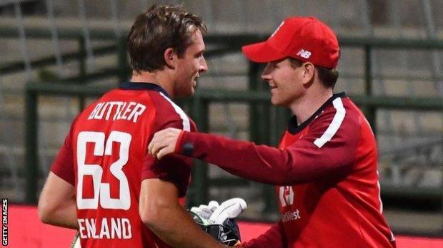 Jos Buttler and Eoin Morgan celebrate England's 3-0 series win
