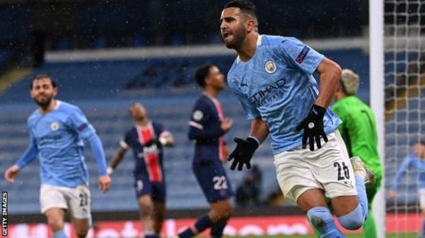 Riyad Mahrez of Manchester City celebrates after scoring his team's second goal during the Champions League semi-final second leg against Paris St-Germain
