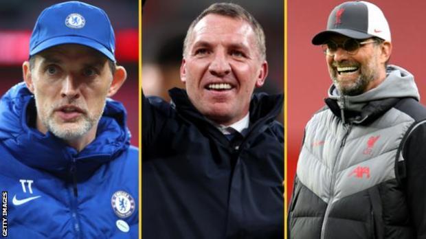 Chelsea boss Thomas Tuchel (left), Leicester City boss Brendan Rodgers and Liverpool boss Jurgen Klopp (right)