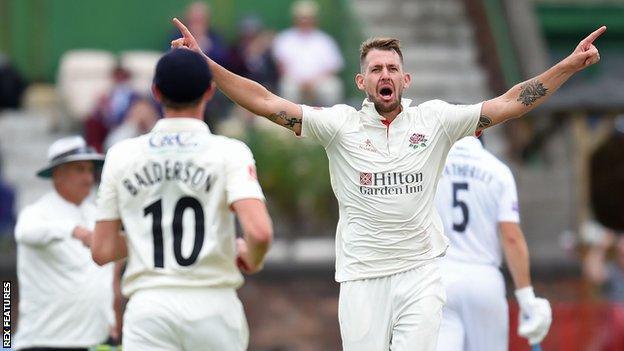 Tom Bailey takes a wicket