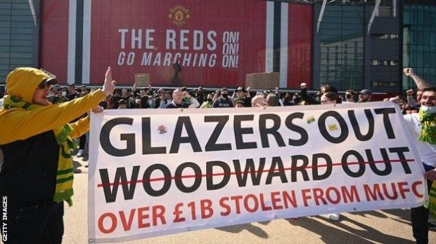 Supporters protest against Manchester United's owners outside Old Trafford