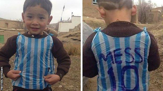Photo of Murtaza in his homemade shirt
