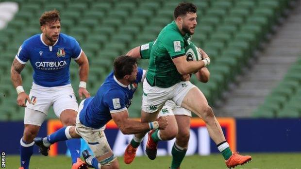 Robbie Henshaw makes a run in last weekend's win over Italy after coming on as a first-half replacement