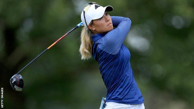 American Danielle Kang plays a shot during the final round of the Marathon Classic