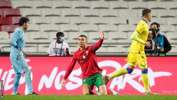 Cristiano Ronaldo gestures during Portugal's game against Andorra