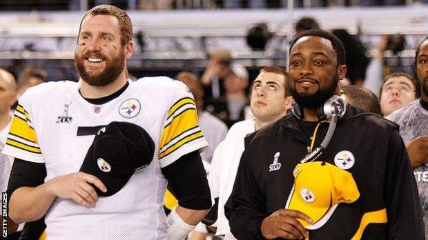 Ben Roethlisberger and Mike Tomlin at Super Bowl 45