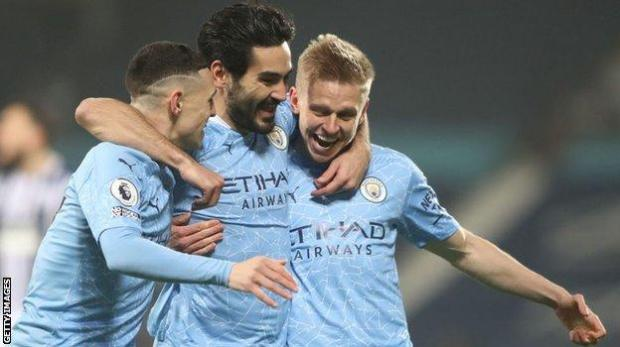 Manchester City midfielder Ilkay Gundogan celebrates after scoring their first goal in their 5-0 win against West Brom