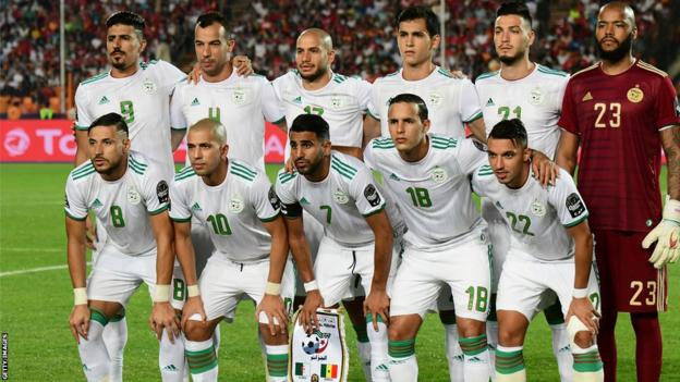 The Algeria team ahead of the 2019 Africa Cup of Nations final in Egypt