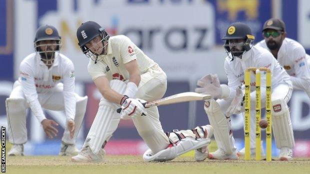 England captain Joe Root plays a sweep shot against Sri Lanka