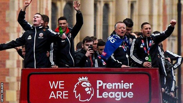Chris Wilder led Sheffield United to the Premier League in 2019 - and celebrated in style