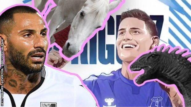 A collage, including Ricardo Quaresma, a white horse, a toy Loch Ness monster and an animation of James Rodriguez