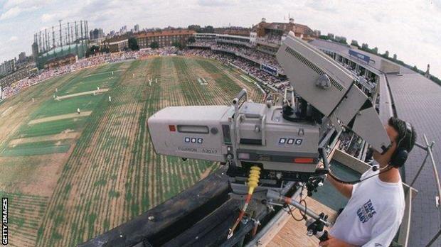BBC cameraman at at The Oval Cricket Ground